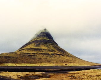 Iceland Nature Print, Travel Photography, Kirkjufell, Scandinavian Art, Iceland Mountain, Yellow Tones, Travel Nature, Iceland Prints,