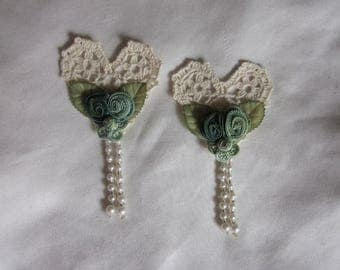 2 pc Crocheted Ivory Lace Heart Green Flower Floral Applique Beaded w Pearl Fringe Vintage Bridal Corsage