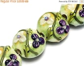 ON SALE 50% OFF Glass Lampwork Bead Set - Four White & Purple Flora Lentil Beads 10504512