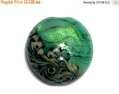 ON SALE 45% OFF New! 11837402 Seafoam Shimmer Lentil Focal Bead - Handmade Glass Lampwork Bead