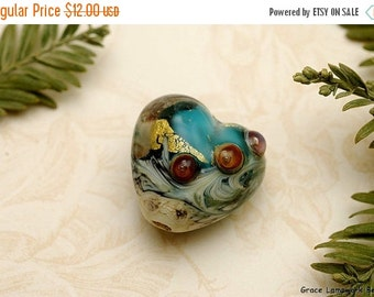 ON SALE 40% OFF Teal Treasure Heart Focal Bead - Handmade Glass Lampwork Bead 11819305