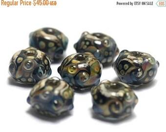 ON SALE 35% OFF Handmade Glass Lampwork Bead Set - Seven Transparent Dark w/Rainbow Rondelle Beads 10902301