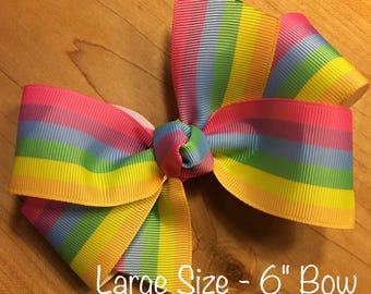 Rainbow (pastel) Hair Bow - Rainbow, Rainbow Bow, Rainbow Party, Rainbow Birthday Party, Rainbow Birthday,  Unicorn, Unicorn Birthday,