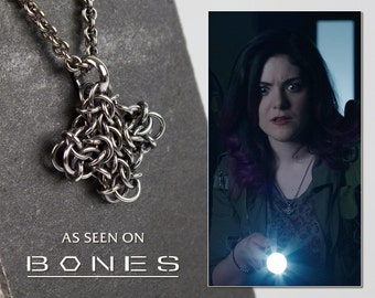 Silver Cross Necklace Medium Iron Cross Pendant, Oxidized Argentium Sterling Chainmaille, 18 20 22 28 36 inch As Seen on TV, Worn on BONES