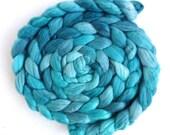 Merino/ Superwash Merino/ Silk Roving (Top) - Handpainted Spinning or Felting Fiber, Sea Glass