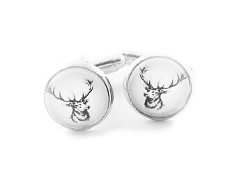 Deer Stag Buck Cufflinks Cuff links Wedding Groom Groomsman Silver Black and White Antlers Woodland