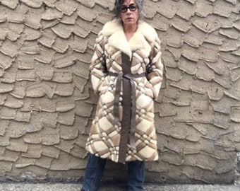 Mink Mod Patchwork Diamond Checker Plaid Wrap Coat with Leather Vintage 60's Gorgeous Blonde Vanilla Fur Taupe Brown