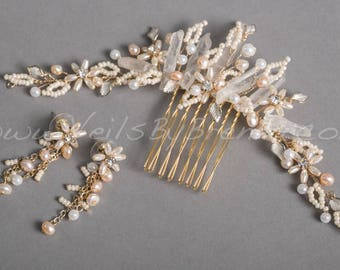Bridal Hair Comb, Raw Quartz Headpiece, Wedding Headpiece - Lynn