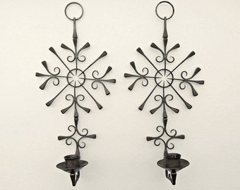 "Pair GOTH Boho Artisan Iron SPIKE 12"" Wall SCONCE Candle Holders"