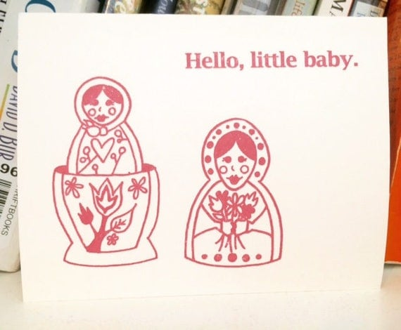 Hello Little Baby - Gocco Greeting Card