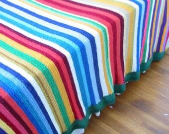 Vintage Colorful Afghan, Striped Blanket, Vintage Striped Afghan, Rainbow Blanket Afghan, Afghan Bedspread, Twin Afghan, Double Full Afghan