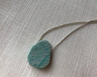 Raw amazonite stone necklace, aqua stone necklace