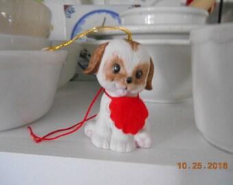 Vintage Porcelain Dog Bell Christmas Ornament Marked c-Jasco Taiwan