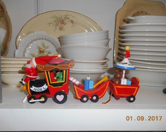 Vintage Wooden Painted Christmas Train Decoration with Santa in front