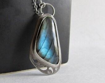 Labradorite Butterfly Wing Necklace - Pierced Sterling Silver