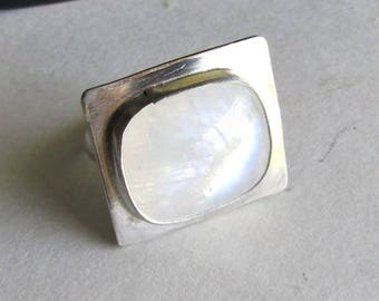 Modern Square Moonstone Ring - size 8 - Moonstone Jewelry - 25th Anniversary Gift - June Birthday Gift