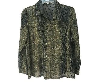 Black & Gold Blouse, Sheer Snakeskin Pattern Blouse, Vintage 90s Blouse, Black Sheer Blouse, Velvet Polka Dot Gold Snakeskin Blouse 1990s M