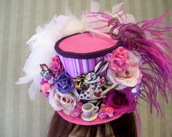 Alice in Wonderland Mini Top Hat, Tea Party Hat, Pink and Purples, Mini Mad Hatter Top hat, Diorama Mini Hat, Baby Shower, Cosplay Hat