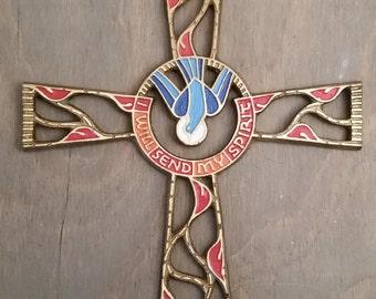 "Vintage Brass and Enamel Terra Sancta Cross ""I Will Send My Spirit"""