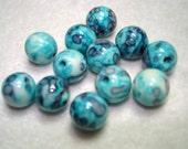 Ocean White Jade Dyed Blue Purple Round Beads (Qty 12) - B3254
