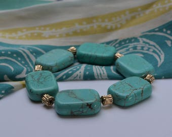 Reconstituted Turquoise Bracelet, Stretch Turquoise Bracelet, Aqua & Gold, One of a Kind, Southwest Assessories, DoreenDesigns, Affordable