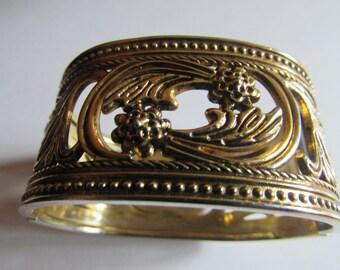 Victorian hinged wild flower bangle
