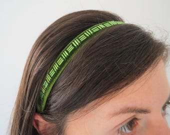 Green Velvet Headband, Adult Bridesmaid Headband, Beaded Narrow Ribbon Hairband, Womens Elasticated Headband, Retro Style Headband