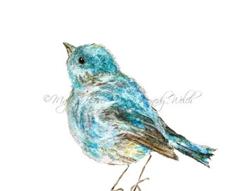 Bird Art, Bluebird Art, Art Print, Watercolor Print, Watercolor Painting, Bird Painting, Home Decor, Animal Art, Happy Art, Majik Horse