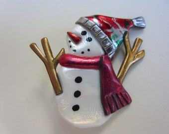 Snowman with twig arms and red speckled hat  pin brooch