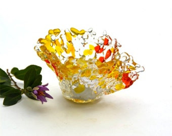 Fused glass candle holder, tea light, votive, transparent, yellow and orange, clear