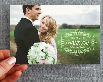 "50+ Wedding, Thank you Postcard with photo, detailed elegant, ""Perla Style"""