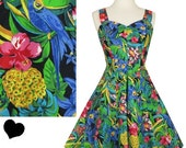 ON SALE Vintage 80s Dress // 50s Style Tropical Convertible Halter Full Skirt Dress S M Swing Hawaiian Pineapple Novelty Print Rockabilly Pi