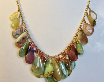 Peruvian Opal and Spinel Gemstone Necklace