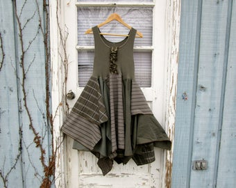 Reconstructed Olive Green Dress// Altered Clothing// Small Medium// Shabby Chic Cowgirl// Spring Summer// emmevielle