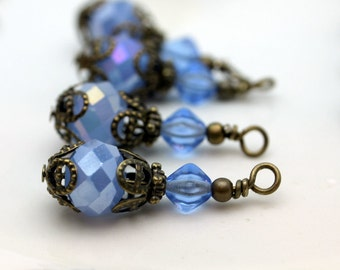 Vintage Style Blue Opaque Crystal with Brass Bead Dangle Charm Drop Set