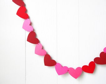 Hot Pink and Red Heart Garland / Wedding Decoration / Love Bunting / Anniversary Decor / Photo Prop / Adjustable Hand Sewn