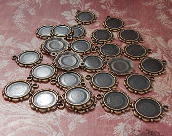 Antique Copper Cameo Setting, Stamping, Mount or Frame for 14mm Stone - Decorative Bezel or Ornament (6 pc)