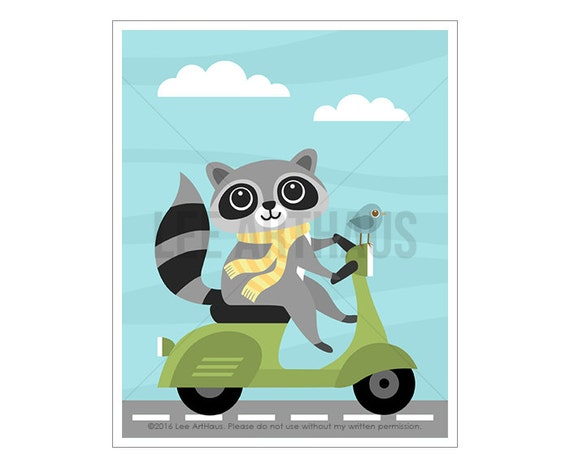 15A Raccoon Wall Art - Raccoon on Vespa Wall Art - Raccoon Wall Art - Vespa Print - Vespa Decor - Woodland Nursery Decor - Raccoon Art