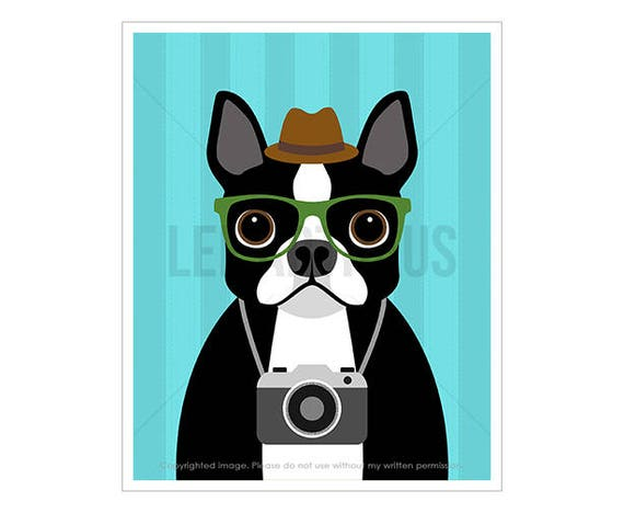 204D Dog Art Print - Boston Terrier with Camera Wall Art - Art for Children - Boston Terrier Print - Camera Drawing - Vintage Camera Print