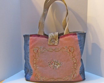 Needlepoint Handbag PurseTote Denim Large