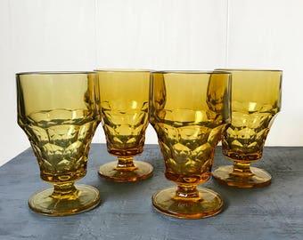 vintage amber glasses - Georgian Thumbprint - pedestal water goblet - jewel tone barware - boho wedding decor