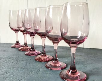 vintage pink glasses - pale pink champagne flute - pastel stemware - wedding bridal baby shower