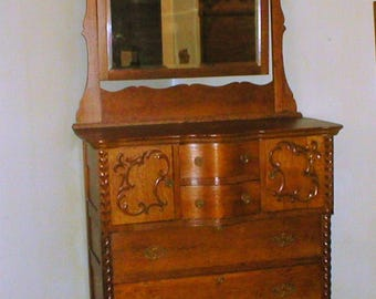PICK Up ONLY Antique Oak Highboy Chest Of Drawers RARE Double Bonnet 7 Feet Tall Civil War Era