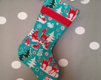Red Deer on Teal Modern Christmas Stocking with Red Ribbon and Lining
