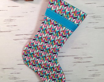 Colorful Herringbone Christmas Stocking with Blue Ribbon and Lining
