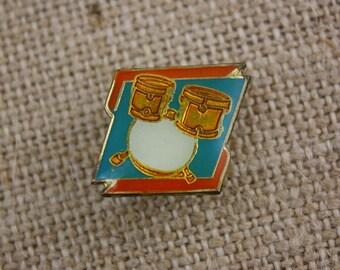 Drum Set - Enamel Pin by American Gag Bag Inc. - Vintage Novelty Pin c. 1980s