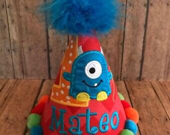 Little Monster First Birthday Hat,  Little Monster Birthday Hat, 2nd Birthday Hat, 3rd Birthday Hat, by Gingham Bunny