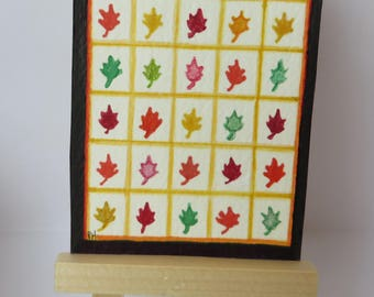 Pretty Leaves Quilt drawing painting aceo 2.5 x 3.5 watercolor oak leaf design