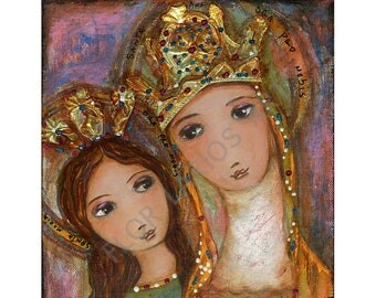 Ora Pro Nobis - Saint Anne and Mary -   Giclee print mounted on Wood (4 x 4 inches) Folk Art  by FLOR LARIOS