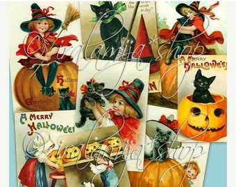 SALE SPOOKY - Collage Digital Images -printable download file-